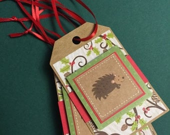 Hedgehog Christmas gift tags (set of 6)