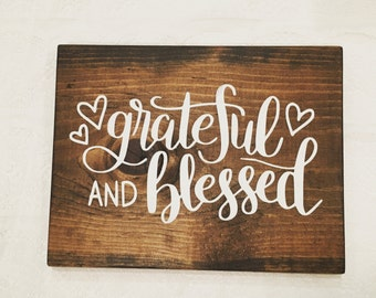 Greatful and Blessed Hearts Rustic Wood Sign Chabby Chic Home Decor Chalk Paint Hand Painted Espresso Dark Wood