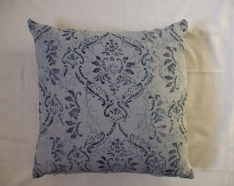 Hand printed linen cushion cover