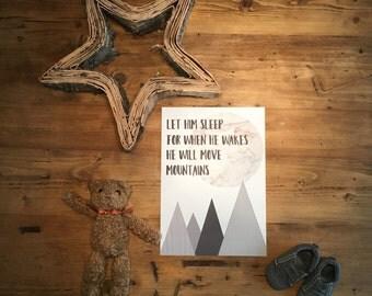 """Scandinavian inspired A4 Kids print """"let him sleep...."""""""