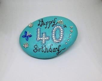 40th celebration stone,40th birthday token,40th birthday gift tokens,birthday gifts for her,40th birthday keepsakes.
