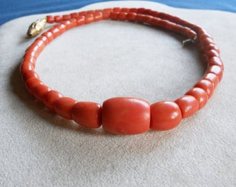 ANCIENT Mediterranean CORAL necklace yellow gold fastening SCIACCA Sicilian Barrels-10% discount coupon 76.30 Gr salt
