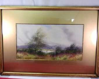 vintage watercolour of landscape, signed ,gilt framed,glazed