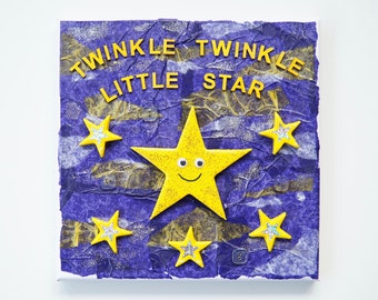 Nursery Rhyme, Mixed Media Canvas, Twinkle Twinkle Little Star, Nursery Decor, Child's Bedroom Decor, Christening Gift, Baby Shower