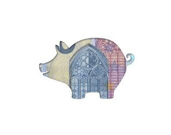 Theme card piggy bank
