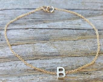 Side way initial bracelet/14k initial bracelet/B bracelet/personalize bracelet/letters bracelet/Alphabet bracelet/single initial bracelet
