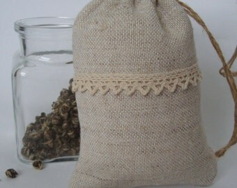 A bag of decorative with flax