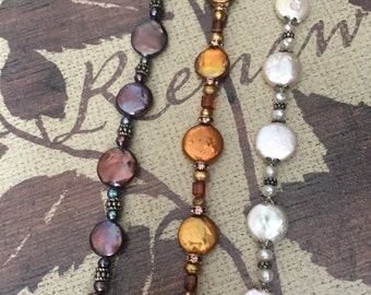 Multiple Pearl Sterling Crystal Bracelet