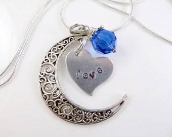 Hand stamped love moon necklace
