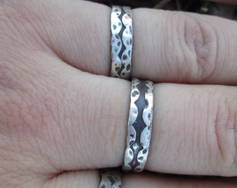 Pebble Zig Zag Ring band cutout textured sterling silver