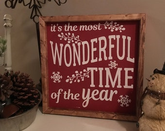READY TO SHIP, Christmas Wood Sign - It's the most Wonderful Time of the Year Sign - Rustic Wood Sign - Painted Wood Sign,