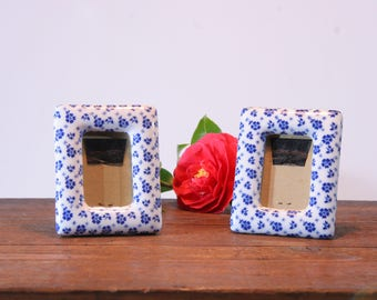 Blue and white porcelain photo frames, pair of French ceramic picture frames