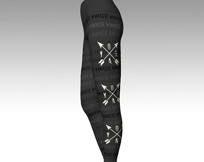 YOGA, NAMASTE, Printed Leggings, Gray Leggings, Women's Leggings, Gray Yoga Pants, Typography, Yoga Pants, Yoga Leggings, Wearable Art, Gift