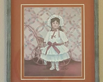 Glynda Turley Framed Print,Vintage Signed and Numbered Print W/COA,Rare Limited Edition,Little Girl Print