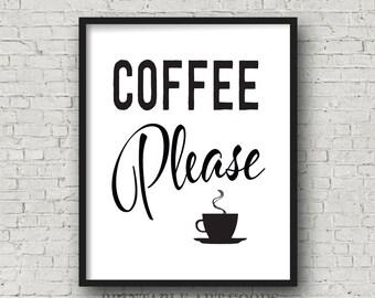 Coffee Please Kitchen Printable Art, Coffee Cup Print, Black White Minimalist, Modern Kitchen Decor, Five JPG File Sizes, Digital Downloads