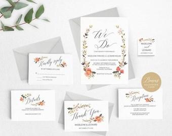Rustic Wedding Invitation Template, We Do Wedding Invitation Printable, Vintage Invitation, Cheap Invitation,DIY PDF Instant Download #E011
