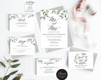 Rustic Wedding Invitation Template, Mr Mrs Wedding Invitation Printable, Vintage Invitation, Cheap Invitation,DIY PDF Instant Download #E023