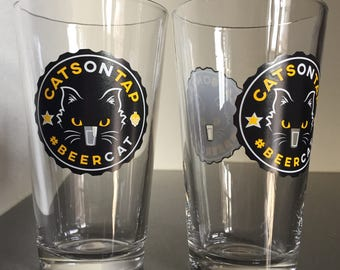 Order (2) CatsOnTap #BeerCat 16 oz Pint Glasses