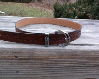 Hand Tooled Leather Belt Design 3