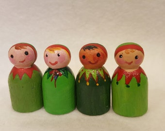 Peg doll Mini Christmas Elf, Santa's little helper, Elf Christmas decoration