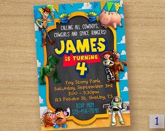 Toy Story Birthday Invitation Card, Toy Story Party Custom Chalkboard Invitation, Toy Story Printable Invitation, Toy Story Invites