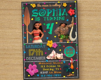 Moana Invitation, Moana Birthday Party, Moana Printable Custom Card, Disney Moana Birthday Invitation, Princess Moana Invite Chalkboard