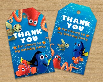 Finding Dory Thank You Tags, Finding Dory Tags, Finding Dory Printable Tags, Finding Dory Supplies, Finding Dory Birthday Labels, Nemo Tags