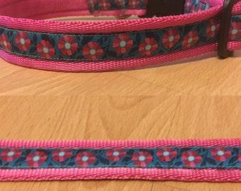 Teal Flower Dog Collar