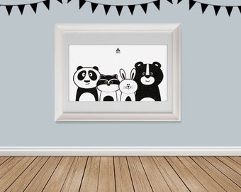 Nursery Wall Art, Black and White Decor for Kids, Animal cartoon, wall art print, Kids room decor, nursery decor kids print, teenytribeprint