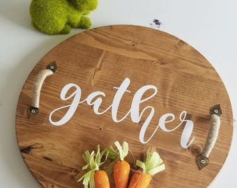 Serving Tray | Wooden Round | Wood Tray | Center Piece |
