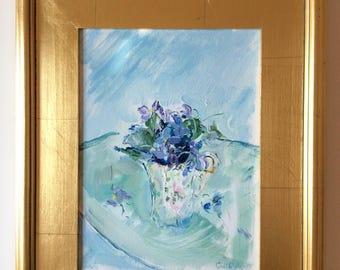 """Graceful Cup of Violets in Light Blue, gold leaf wood frame (15 x 18""""), oil on canvas"""