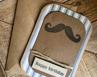 Happy Birthday Card for Him- Hand Stamped Birthday Card- Mustache Card
