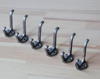 Set of 6 Soviet metal hooks, vintage metal hooks, Rustic hooks, Retro hooks, Vintage Hat and Coat Hooks, Iron Coat Hooks, Little metal hooks