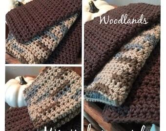 "Set of THREE handmade crocheted dishcloths in ""WOODLANDS"""