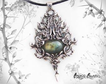 925 sterling silver labradorite necklace, labradorite pendant necklace, natural stone pendant, silver pendant necklace, fantasy jewelry