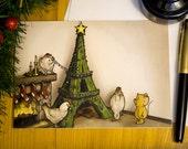 Three French Hens Humorous Christmas Card