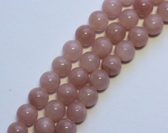 6mm Pink Beads Mauve Pink Dusty Rose Jade Rounds 15 inch Strand 64 Beads Stone Gemstone