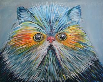 Colorful cat Fat cat  Cat painting  Cute kitten Persian Himalayan cat portrait Colourful cat  Pet painting Grumpy Cat painting 20 x 16 in