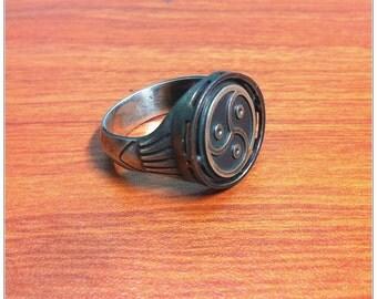 BDSM Triskele Signet Transforming Ring, Sterling Silver, Oxidized Black