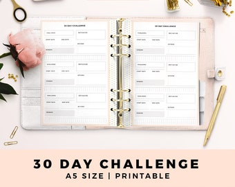 A5 Size Personal Planner Inserts, 30 Day Challenge, Goal Tracker, Blush and Gold Printable Planner Inserts, Productive Planner Pages