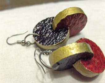 Cork enameled earrings