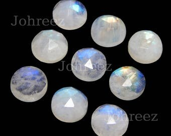 10 pieces natural rainbow moonstone round rose cut loose gemstone