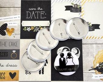 Bride-Groom badge / Bride-Groom button / Pinback button /  Bachelor Party / Wedding Party / Party