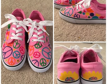 Hand-Painted Peace Sign Shoes