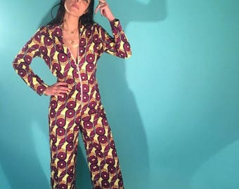 African jumpsuit with ring pull zipper