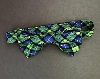 REDUCED!!  Little Boys Black & Green Tartan Plaid Bow Tie, Child's Plaid Bow Tie, Adjustable Bowtie, Toddlers Plaid Bowtie, Tartan Plaid Tie