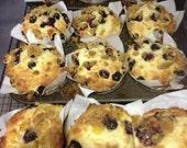 Organic baked fresh fruit muffins