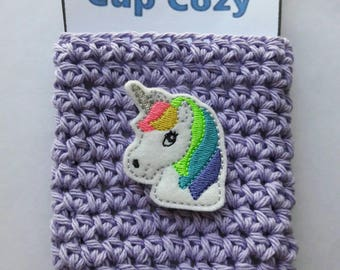 Unicorn cup cozy/unicorn coffee cup cozy/crocheted cup cozy/crocheted coffee cup cozy/coffee sleeve/mug cozy/gift for her/mom gift/tea cozy