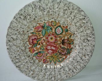 Wade gold chintz lace flowers plate