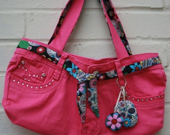 Up cycled jean bag, Pink Jeans handbag with sugar skull lining